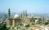 Egypt - Cairo: on Midan Salah al Din - minarets on Saladdin square - Great Madrasa of Sultan Hassan and the Rifai mosque, burial place of Shah Reza Pahlavi and King Farouk of Egypt - Qanibay mosque on the extreme right - Islamic Cairo - Unesco world heritage site  (photo by Miguel Torres)