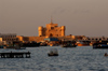 Egypt - Alexandria: fort Qaitbey - eastern harbour - at sunset (photo by John Wreford)