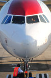 San Salvador, El Salvador, Central America: nose view of TACA International Airlines airliner - Airbus A320-233 - 498TA - cn 3418 - Comalapa International Airport - photo by M.Torres