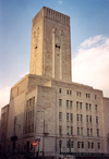 Liverpool, Merseyside, North West England, UK: architecture - Georges Dock Ventilation tower - Mann Island - Designer: Herbert J Rowse - photo by M.Torres