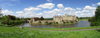 Leeds Castle, Kent, South East, England (UK): fortress and moat - wide angle - photo by K.White
