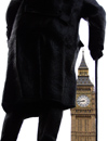 UK - London: Big Ben and statue of Churchill - cane - photo by K.White