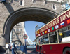 London: tour bus entering Tower bridge - photo by K.White