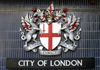London: City of London crest - coat of arms - - motto Domine dirige nos - photo by K.White
