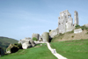 England - Purbeck district (Dorset county): Corfe Castle - dismantled by Parliamentary forces in 1646 - photo by R.Eime