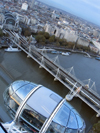 London: British Airways London Eye - the Thames - Hungerford Bridge - Waterloo station - pod - photo by K.White