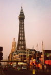 Blackpool / BLK - Lancashire, England, UK: triumph of kitsch - Blackpool tower at dusk - designed by Maxwell and Tuke - photo by M.Torres