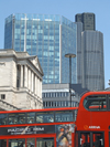 London, England: Bank of England buses and skyscrapers - photo by A.Bartel
