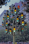 London: Traffic Lights Tree sculpture, installation by Pierre Vivant - Westferry Way - Docklands - Tower Hamlets - photo by A.Bartel
