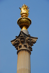 London, England: Paternoster Square Column - Corinthian column of Portland stone topped by a gold leaf covered flaming copper urn - designed by Whitfield Partners - City - photo by M.Torres