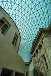 London: British museum - Queen Elizabeth II Great Court around the former Reading Room - Eastern side - the largest covered square in Europe - photo by M.Torres