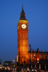 London: Big Ben at night - Victorian Gothic style, architect Charles Barry - Bridge street - photo by M.Torres