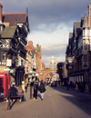 Chester, Cheshire, North West England, UK: Eastgate - street scene - photo by M.Torres