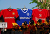 London: football shirts - Manchester United, Chelsea, Liverpool - Oxford street - replica shirts - photo by M.Torres
