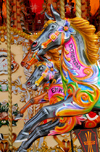London: horses in a Carousel near Hungerford Bridge - Lambeth - photo by M.Torres