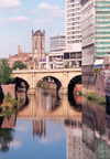 Manchester, North West, England: the Irwell river - bridge and cathedral - photo by M.Torres