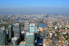 Tower Hamlets, London, England: aerial view of Canary Wharf, Docklands - West India Quay, Isle of Dogs - photo by A.Bartel