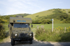 Dorset, England: army ambulance parked beside road in the countryside - photo by I.Middleton