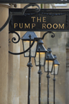 Bath, Somerset, South West England, UK: street lamps - the Pump Room - photo by T.Marshall