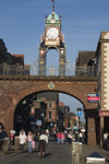 Chester, Cheshire, North West England, UK: Eastgate with its clock - part of the city walls - photo by I.Middleton