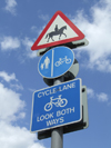 London, England: priority for horses, traffic sign, Epping Forest - photo by A.Bartel
