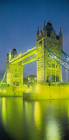 London, England: Tower Bridge - nocturnal - light on the Thames - Victorian architecture by Wolfe Barry and Horace Jones - photo by A.Bartel