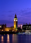 London, England: Big Ben and the Thames - dusk - photo by A.Bartel