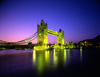 London, England: Tower Bridge - nocturnal - opened in 1894 by The Prince of Wales, the future King Edward VII - photo by A.Bartel