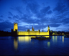 London, England: Houses of Parliament - Westminster Palace - lights on the Thames - nocturnal - photo by A.Bartel