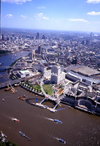 London, England: The Eye, Waterloo station and Hungerford Bridge - Lambeth and the Thames - Aerial - photo by A.Bartel