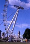 London, England: The Eye - A-frame supporting the wheel - photo by A.Bartel