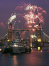London, England: fireworks on the Thames - Tower Bridge and HMS Belfast - photo by A.Bartel