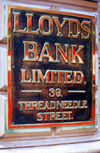 London, England: Brass Bank Sign - Lloyds - Threadneedle Street - The City - photo by A.Bartel