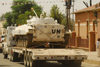 Eritrea - Mendefera, Southern region: peacekeepers - United Nations Mission in Ethiopia and Eritrea (UNMEE) tank on a semitrailer - photo by E.Petitalot
