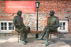 Estonia - Tartu / TAY (Tartumaa province): Oscar Wilde meets Estonian writer - statues - photo by A.Dnieprowsky