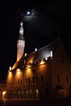 Estonia - Tallinn - Old Town - Old Town Hall at night with moon - photo by K.Hagen