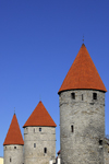Estonia, Tallinn: Old town wall towers - conical red roofs - photo by J.Pemberton