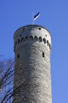 Estonia, Tallinn: Tall Hermann tower - Toompea Castle - Estonian flag - photo by J.Pemberton