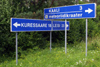 Estonia - Saaremaa island: Estonian road signs - Leisi, Kaali, Kuressaare, meteoriidikraater - photo by A.Dnieprowsky