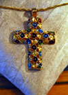Addis Ababa, Ethiopia: stone encrusted cross - Ethiopian jewelry at the Hilton Addis Ababa hotel  - photo by M.Torres