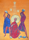 Addis Ababa, Ethiopia: St. Stephanos church - lapidation - mosaic - photo by M.Torres