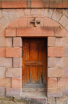 Lalibela, Amhara region, Ethiopia: Italian built chapel - door - photo by M.Torres