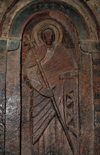 Lalibela, Amhara region, Ethiopia: Bet Golgotha church - carving of a saint - photo by M.Torres