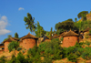 Lalibela, Amhara region, Ethiopia: two-storied huts on a hill side - photo by M.Torres