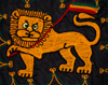 Lalibela, Amhara region, Ethiopia: Lion of Judah with Ethiopian flag - textile - photo by M.Torres