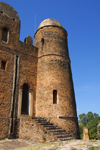 Gondar, Amhara Region, Ethiopia: Royal Enclosure - Fasiladas' Palace - round tower and stairs - photo by M.Torres
