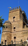 Gondar, Amhara Region, Ethiopia: Royal Enclosure - Fasiladas' Palace - round and square towers - photo by M.Torres