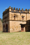 Gondar, Amhara Region, Ethiopia: Royal Enclosure - Yohannes Library - square battlemented building covered with beige plaster - photo by M.Torres