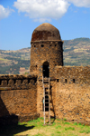 Gondar, Amhara Region, Ethiopia: Royal Enclosure - walls and egg shapped guerite - Fassil Ghebi - photo by M.Torres