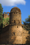 Gondar, Amhara Region, Ethiopia: Royal Enclosure - tower near Mentewab's castle seen from outside the walls - photo by M.Torres